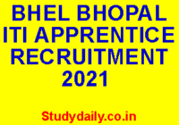 bhel bhopal iti apprentice recruitment 2021