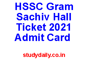 hssc gram sachiv hall ticket 2021